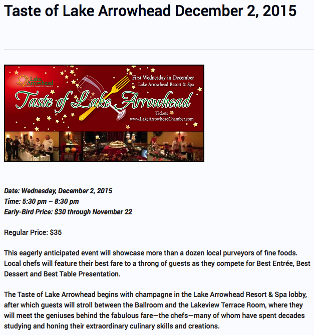 Taste of Lake Arrowhead